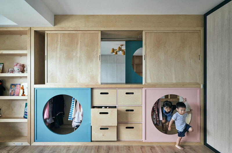 Design Detail A Wardrobe With Tunnels Connects A Play Area With The Children's Bedroom-1